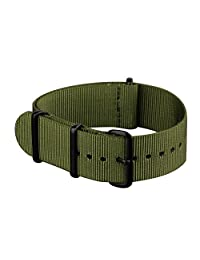 INFANTRY® Mens Military Army Nylon Canvas Fabric Wrist Watch Band Strap Green Replacement Brushed Buckle bands 20mm