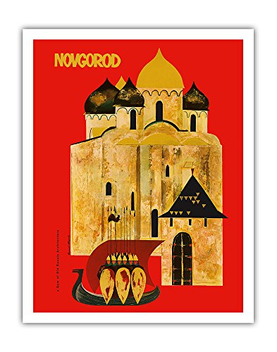 Pacifica Island Art Novgorod, Russia - A Gem of Old Russian Architecture - Vintage World Travel Poster c.1960s - Fine Art Print - 11in x 14in