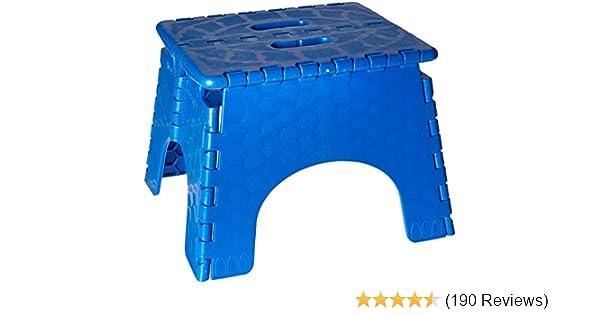 Blue B /& R Plastics Inc 101-6B-BLUE 300 Pound Capacity #101-6B 9 Inches High Folding Step Stool