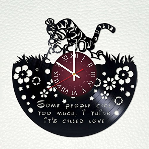 Disney Winnie Pooh Collectible Plate (WINNIE THE POOH - Disney Castle Vinyl Clock Record Wall Clock Handmade Fan Art Decor Unique Decorative Vinyl Clock - The Best Original Gift for Children)