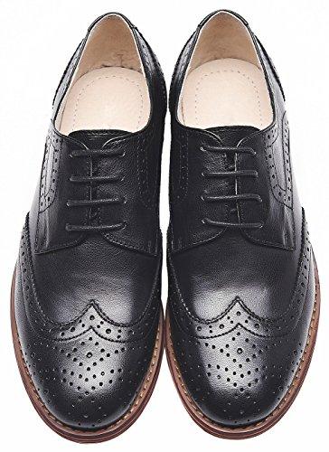 in da donna vintage Nero da ufficio brogue SimpleC pelle Scarpe ufficio da comode scarpe oxford qYwfZt