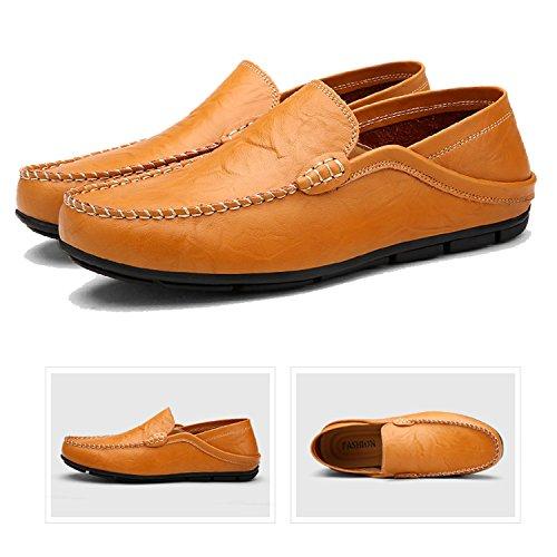 Herren LILY999 Halbschuhe Slippers Schuhe Flache 46 Schuhe Große Mokassins Loafers Braun 38 Größe Bootsschuhe 6AqadA