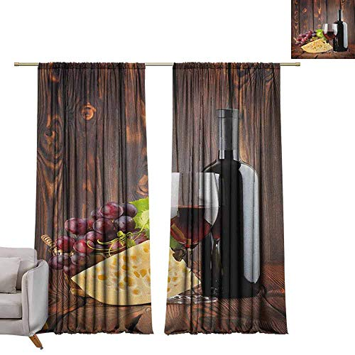 Blackout Window Curtain Panel Wine,Red Wine Cabernet Bottle and Glass Cheese and Grapes on Wood Planks Print, Brown Burgundy Cream W96 x L84 Tie Up Shades Rod Blackout Curtains
