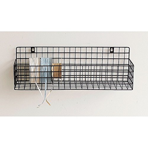 Time Concept Rustic Iron Wall Mount Rack - Brown, Small - Flower Plant Storage, Long Tray Basket (Surfboard Wall Shelf)