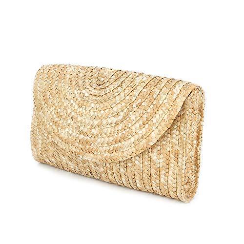Olyphy Straw Clutch Purses for Women, Summer Beach Handbags, Wedding Envelope Wallet