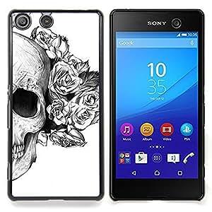 Queen Pattern - FOR Sony Xperia M5 - Rose White Black Skull Death Flower - Cubierta del caso de impacto con el patr???¡¯???€????€?????n Art