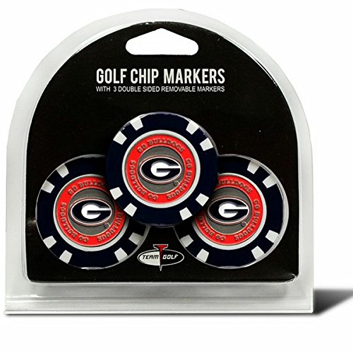 Set of 3 University of Georgia Bulldogs Poker Chips with removableゴルフボールマーカー   B00KOWFY32