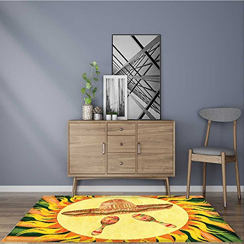 Shag Hat - Soft Microfiber Shag Bath Rug Hat and Maracas in the Centre of Sun Figure Style Boho Home Mildew Resistant W47 x L59 INCH