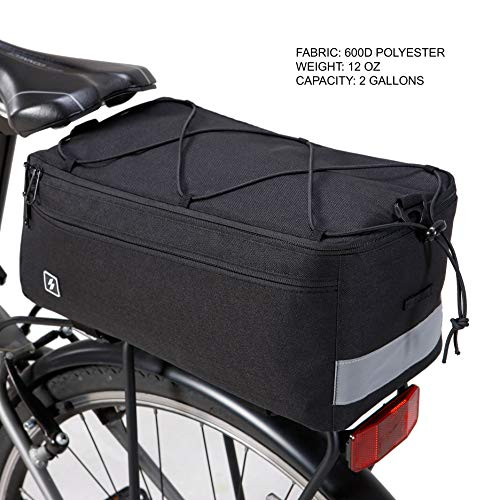 Sahoo Insulated Bike Bag Rack Bag Bicyle Painners Trunk Cooler Bag for Warm or Cold Items, 8Liters Capacity (1.76 Gal) with Reflective Strips,Made by Roswheel 142001