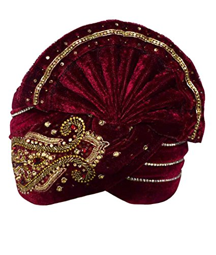 INMONARCH Mens Wonderful Embroidered Turban Pagari Safa Groom Hats TU1095 23H-Inch Maroon by INMONARCH
