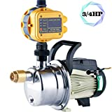 TDRFORCE 3/4 HP Pressure Booster Pump Automatic Water Pump Tankless Shallow Well Self-priming Jet Pump System (Color: Yellow, Tamaño: JETS-80)