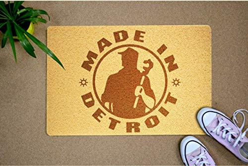 Made in Detroit Logo Design 24×16 inch Indoor Funny Rubber Doormat Welcome Mat Outdoor Birthday Wedding Housewarming Home Interior for Women Men