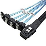 CableDeconn 1M Mini SAS 36P SFF-8087 To 4 SATA 7Pin 90 Degrees Target Hard Disk Data Cable