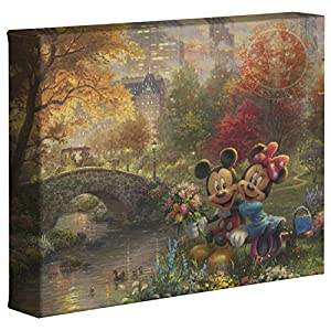Thomas Kinkade Studios Disney's Mickey and Minnie Sweetheart Central Park 8 x 10 Gallery Wrapped Canvas