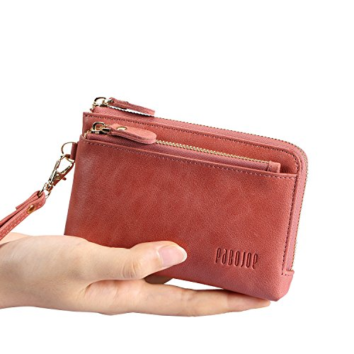 Small Wallets for Women Soft Ladies Leather Wallet with Coin Pocket Pink Wristlet Handbags (Small Wristlet)