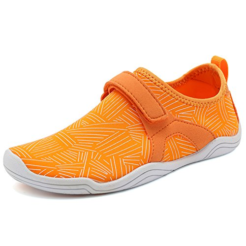 (Fantiny Boys & Girls Water Shoes Lightweight Comfort Sole Easy Walking Athletic Slip on Aqua Sock(Toddler/Little Kid/Big Kid) Driving DKSX-orange-28)