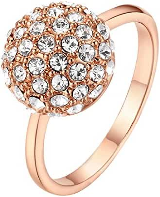 Shining Clear Crystal Ball Ring 18k Rose Gold Plated Austria Crystals Star Jewelry