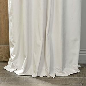 Half Price Drapes VPCH-110602-84-GRBO Signature Grommet Blackout Velvet Curtain, Off White, 50 X 84