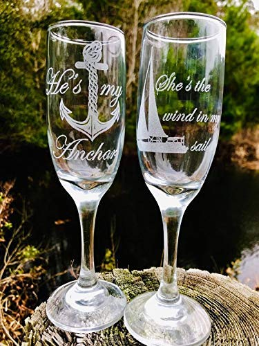 - Two - His and Hers, Engraved, Nautical champagne flutes, Sailboat, Anchor, Wedding glasses, Custom wedding glasses, Engraved wedding glasses