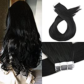 Moresoo 12 Inch Brazilian Tape in Hair Extensions Color Jet Black Short Tape in Hair Extensions Human Hair 40Pieces…