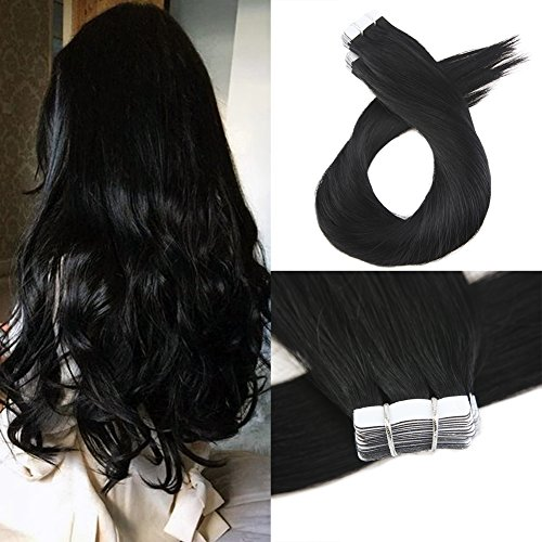Moresoo 20 Inch Glue in Extensions Hair Extensions Remy Human Hair 40 Pieces 100 Grams Per Pack #1 Jet Black Tape in Adhesive Brazilian Hair Remy Full Head Hair Extensions