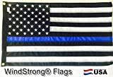 2×3 FT Deluxe Thin Blue Line US American Police Flag (Sewn Stripes) Printed Stars SolarMax Nylon WindStrong® Reinforced Corners Black Finished Header Made in USA Review