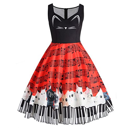 ing Party,Lelili Fashion Cat and Music Note Print Patchwork Sleeveless V Neck Knee Length Dress (S, Red) ()