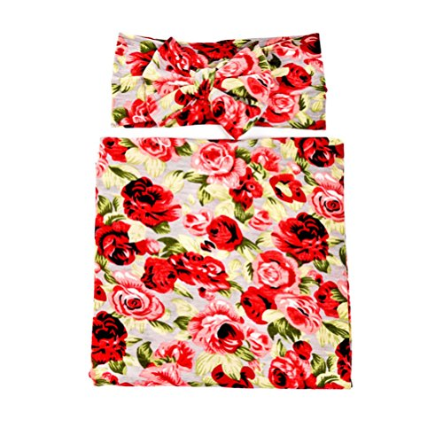 Hcside Newborn Baby Rose Flower Swaddle and Headband Photography Photo Prop (Red)