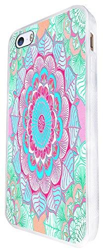 096 - Colourful Vintage Aztec Leafs Love And Peace Geometric Art Design iphone SE - 2016 Coque Fashion Trend Case Coque Protection Cover plastique et métal - Blanc
