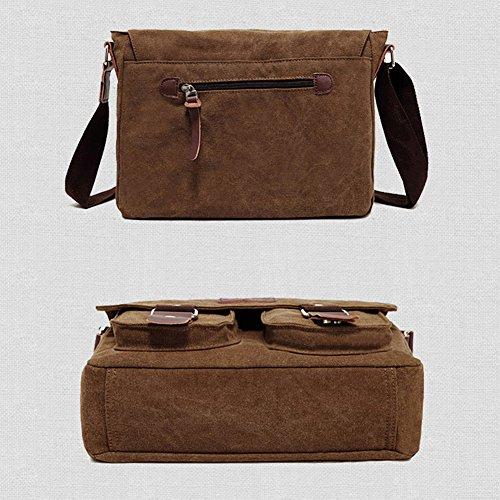 Crossbody Yiwa All Gifts Brown Messenger Color Bag Retro Bags Christmas Casual Shoulder match Soft Solid Fashion Man Canvas 10qrxaw1U7