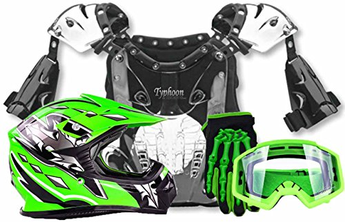 Youth Kids Peewee Offroad Gear Combo Helmet Gloves Goggles Chest Protector Motocross ATV Dirt Bike Green - Small