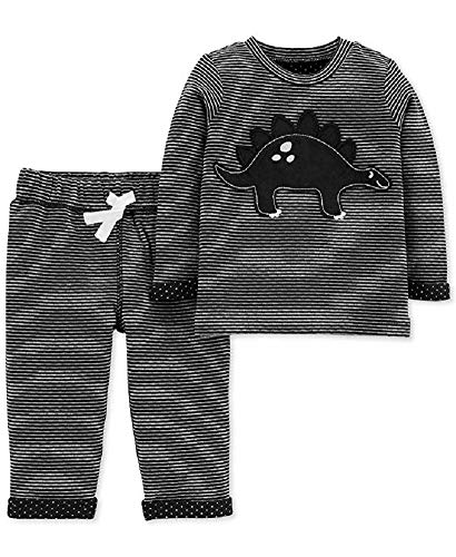 (Carter's 2-Piece Dinosaur Top & Reversible Pant Set, 12 Months,Black and White )