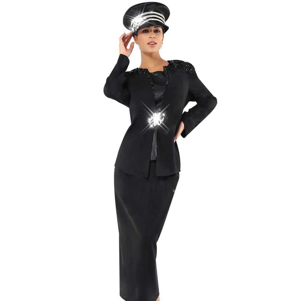 Black Suits Hats Kueeni Women Church Suits with Hats Special Occasion Wedding Party Clothes Black