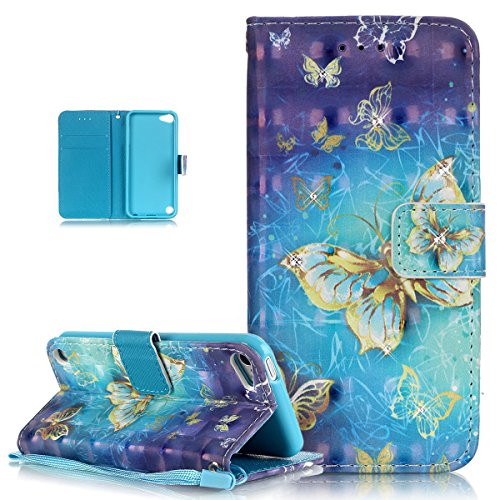Price comparison product image iPod Touch 6 Case, iPod Touch 5 Case, ikasus Shiny Glitter Diamond Colorful Art Painted PU Leather Flip Wallet Pouch Stand Credit Card ID Holder Case Cover for Apple iPod Touch 5 / 6, Blue Yellow Butterfly