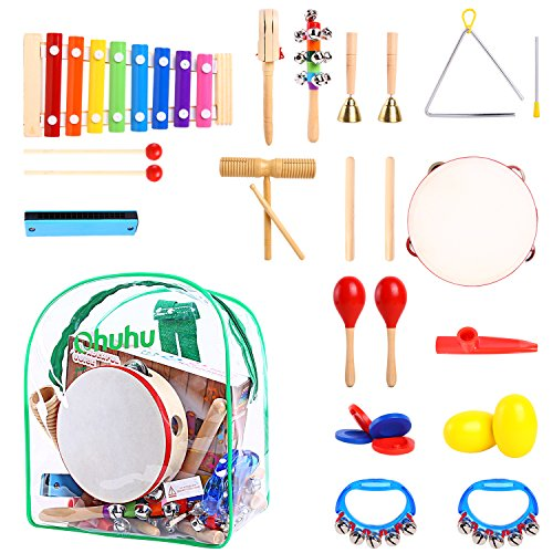 Kids Musical Instruments, Ohuhu 20 pcs Music Rhythm Percussion Set for Children Kid Toy Tambourine Xylophone, Storage Backpack Included, CPSC Approved