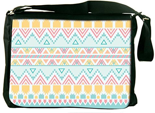 Snoogg light blue aztec Computer Padded Compartment Carrying Case Laptop Notebook Shoulder Messenger Bag rGgpIemr