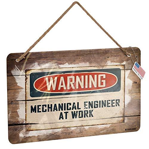 NEONBLOND Metal Sign Warning Mechanical Engineer at Work Vintage Fun Job Sign Christmas Wood Print