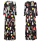 Women's Dress,Sexyp Fashion Christmas Maxi Dress,Santa Snowman Print Long Sleeve Evening Party Prom Casual Dress (XX-Large, Black)