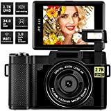 Digital Camera Vlogging Camera,24MP Ultra HD 2.7K Camera WiFi YouTube Camera with 3.0 Inch Flip Screen and Retractrable Flashlight