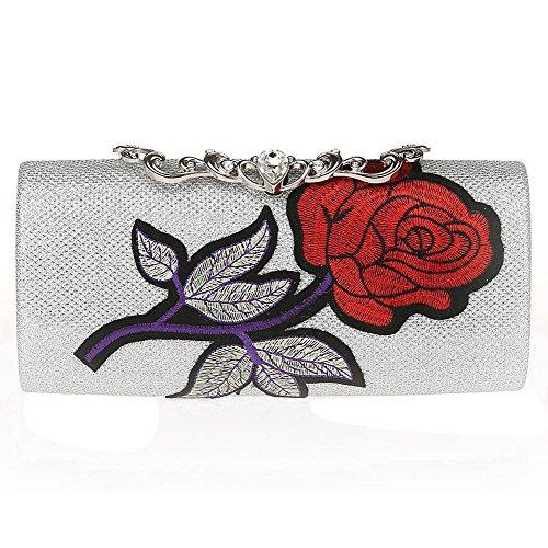 Wgwioo Bag bolso de noche de las señoras bolso del bordado de la flor del bolso del diamante de imitación monedero del embrague de la boda del partido. 22 x 11 x5cm gold one size silver