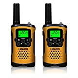 Kids Walkie Talkies, UOKOO 22 Channels and Back-lit LCD Screen (up to 6KM in open areas) Walkie Talkies for Kids (1 Pair) Yellow T48