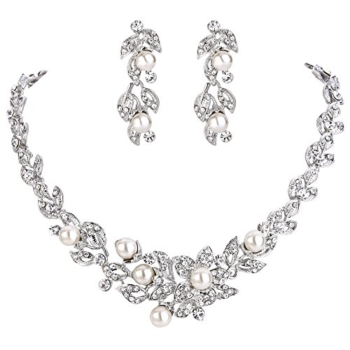 BriLove Wedding Bridal Cream Simulated Pearl Necklace Earrings Jewelry Set for Women Cluster Leaf Vine Hibiscus Flower Crystal Collar Necklace Dangle Earrings Set Clear Silver-Tone