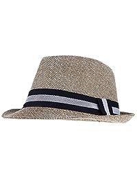 ad990100254 Gemvie Mens Summer Short Brim Sun Hat Beach Fedoras Cap Jazz Hat Cap
