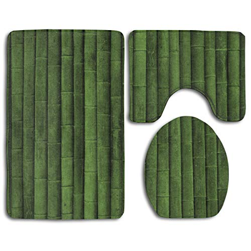 Soft and Cozy Tub-Shower Bath Rug Set Green Bamboo Super Absorbent Toilet Floor Mat - 3 Pack Memory Foam Non Slip Bath Mats and Rug Sets for Hotel & Spa Tub (Green Bamboo Rug)