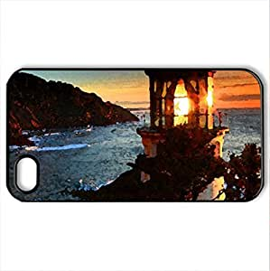 Lighthouse at sunset - Case Cover for iPhone 4 and 4s (Lighthouses Series, Watercolor style, Black)