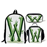 School Lunch Pen Bags,Letter W,Bamboo Branches Forming Letter W Zen Spa Themed Alphabet Typeset Green Leaves,Green White,Personalized Print