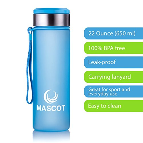 Mascot Fashion Sport Bottle With Carrying Lanyard, Leak-Proof, Filter On The Top, And 100% BPA Free