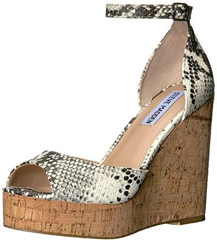 Steve Madden Women's Summers Wedge Sandal, Natural Snake, 8.5 M - Madden Wedge Platform Steve