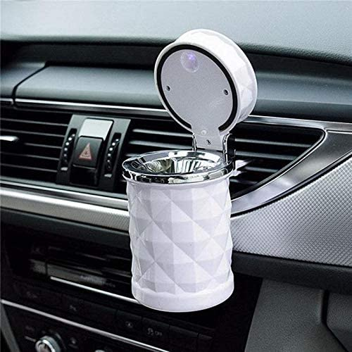 LIZIB 車用 灰皿 灰皿 携帯 愛煙 缶プレ ミアム ドリンクホルダー型 カーボン調ブラック LED付き (Color Name : White)