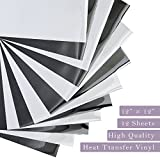 Unime Heat Transfer Vinyl Black and White - 12''x12'' - 12 Sheets - Iron On HTV for T Shirt